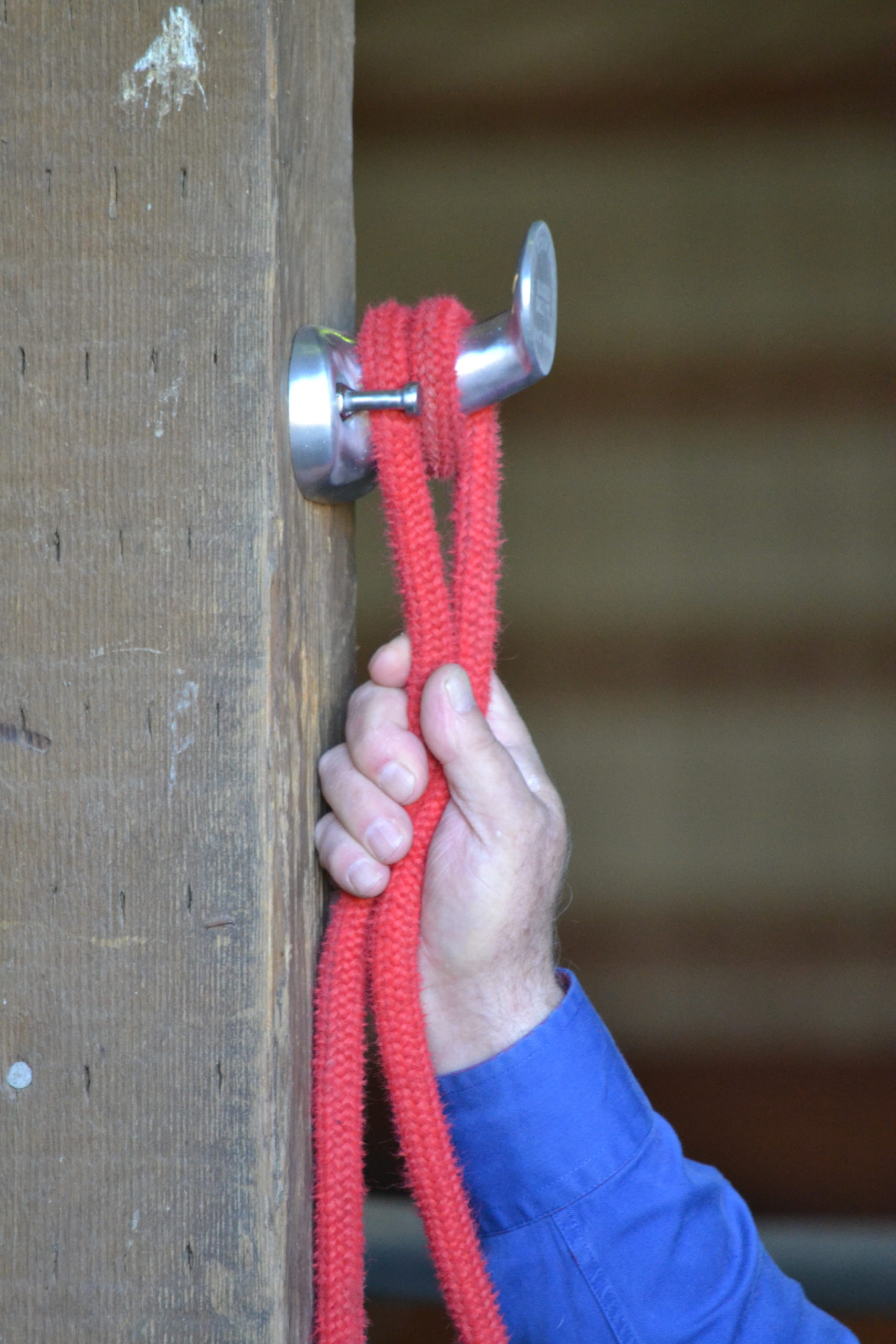 If you want more hold you can add a loop before the half hitch.   1.  Drape the lead rope over the Dally Ty and behind the long bolt.     2.  Wrap the rope around the horn.